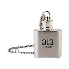Distressed Detroit 313 Flask Necklace