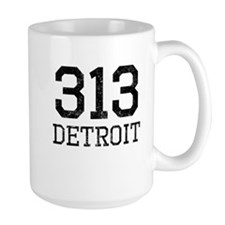 Distressed Detroit 313 Mugs