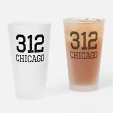 Distressed Chicago 312 Drinking Glass