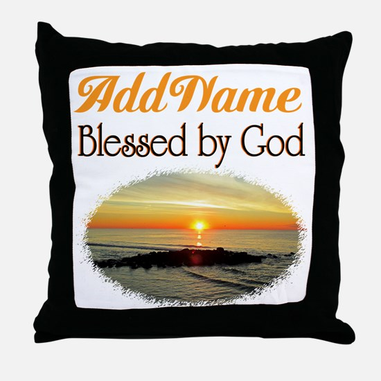 BLESSED BY GOD Throw Pillow