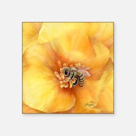 Honey Bee In Poppy Ornament Sticker