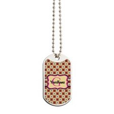 Pink Monogram Floral Pattern Dog Tags