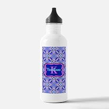 Pink Blue Geometric P Water Bottle