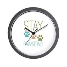 Stay Pawsitive Wall Clock