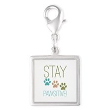 Stay Pawsitive Silver Square Charm
