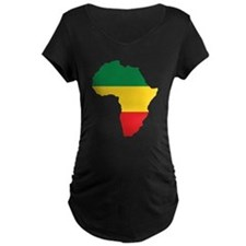 Green, Gold and Red Africa Flag Maternity T-Shirt