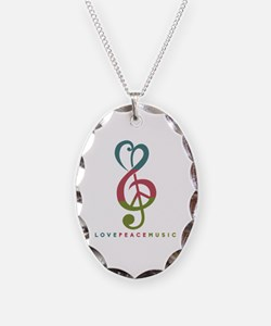 Cute Music Necklace Oval Charm