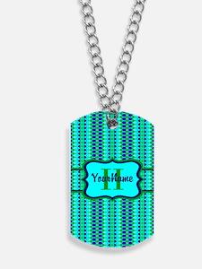 Neon Aqua Blue Bright Turquoise Personali Dog Tags
