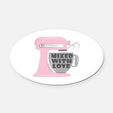 Mixed With Love Oval Car Magnet