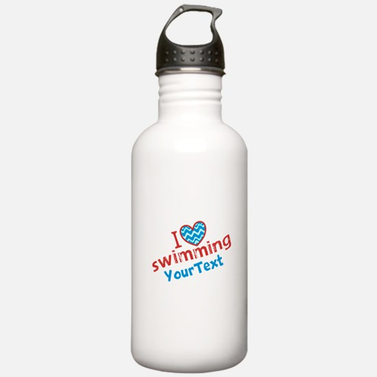 Swimming Optional Text Water Bottle