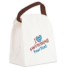 Custom Swim Optional Text Canvas Lunch Bag