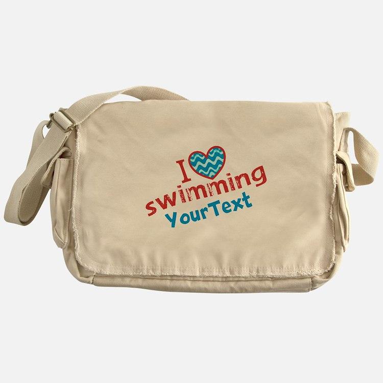 Custom Swim Optional Text Messenger Bag