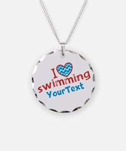 Swimming Optional Text Necklace