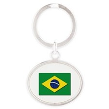 Flag - Brazil (Brasil) Oval Keychain
