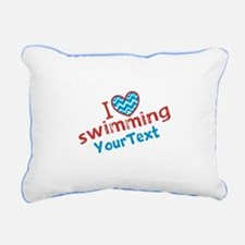 Swimming Optional Text Rectangular Canvas Pillow