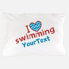 Swimming Optional Text Pillow Case