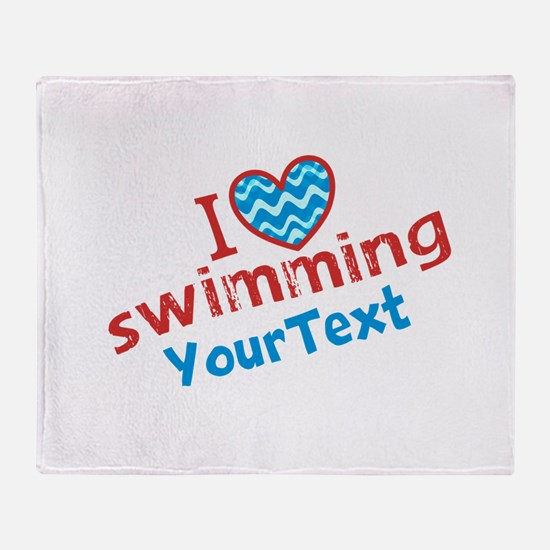 Swimming Optional Text Throw Blanket