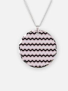 Pink White Black Chevron Necklace