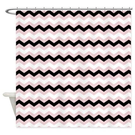Pink White Black Chevron Shower Curtain By Zenchic