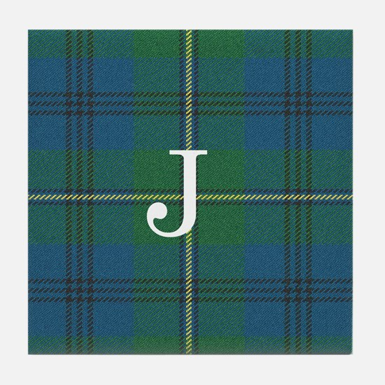 Johnson Family tartan plaid Monogrammed Tile Coast
