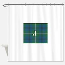 Johnson Family tartan plaid Monogrammed Shower Cur