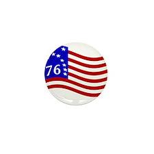 Waving Bennington 76 Flag Mini Button
