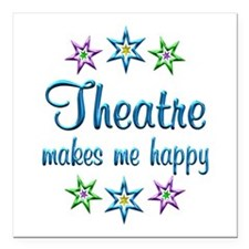 """Theatre Happy Square Car Magnet 3"""" x 3"""""""