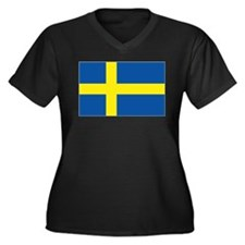 Flag Swedish Women's Plus Size V-Neck Dark T-Shir