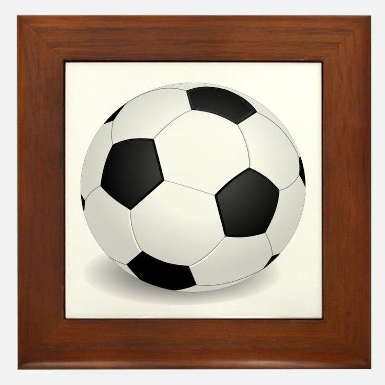 soccer ball large Framed Tile