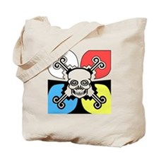 Colorful Skull and Monk Tote Bag