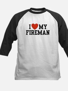 I Love My Fireman Kids Baseball Jersey