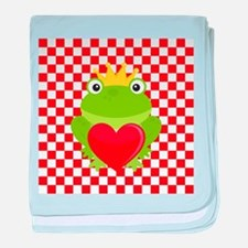 Frog Prince on Red and White baby blanket