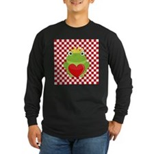 Frog Prince on Red and White Long Sleeve T-Shirt