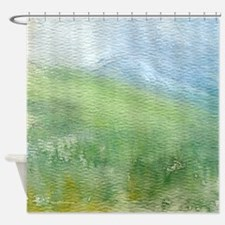 Watercolor Mountain Landscape Shower Curtain