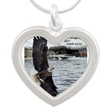 Cute Eagle wings Silver Heart Necklace