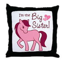 Big Sister - Pink Pony Throw Pillow