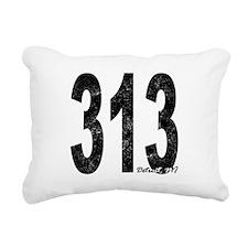 Distressed Detroit 313 Rectangular Canvas Pillow
