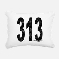Distressed Detroit 313 Rectangular Canvas Pillow