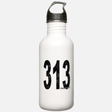 Distressed Detroit 313 Water Bottle