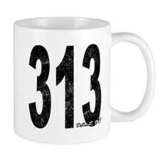 Distressed Detroit 313 Mugs