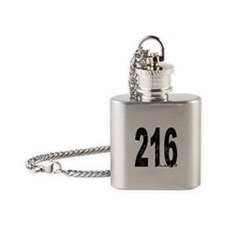 Distressed Cleveland 216 Flask Necklace