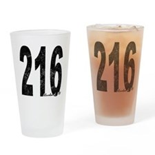 Distressed Cleveland 216 Drinking Glass