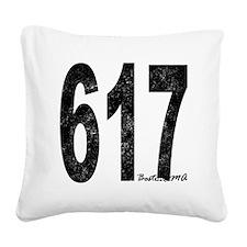 Distressed Boston 617 Square Canvas Pillow