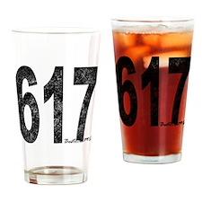 Distressed Boston 617 Drinking Glass