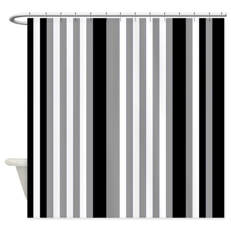 Grey Black White Stripes Shower Curtain By PrintPatterns