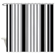 Grey Black White Stripes Shower Curtain