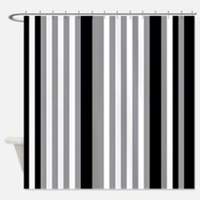 Grey Black White Stripes Shower Curtain