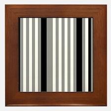 Grey Black White Stripes Framed Tile