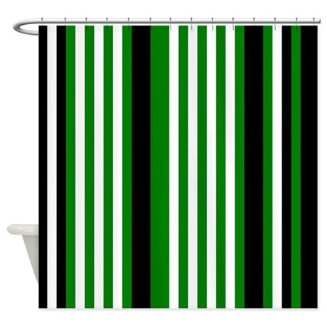 Green Black White Stripes Shower Curtain By Printpatterns