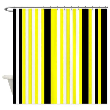 Yellow Black White Stripes Shower Curtain By PrintPatterns